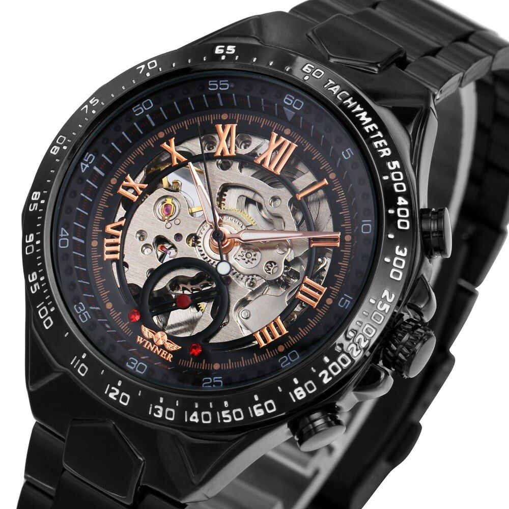 2018 Black Rose Gold WINNER Men Watch Cool Mechanical Automatic Wristwatch Stainless Steel Band <font><b>Male</b></font> Clock Skeleton Roman Dial