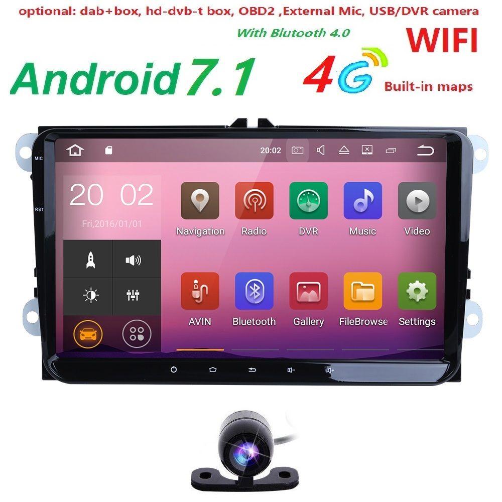 2Din 4G Android 7.1 Car Stereo Radio 9 Inch HD 1024*600 Screen Quad Core Monitor GPS For VW Passat Golf Polo CC Jetta Skoda Seat