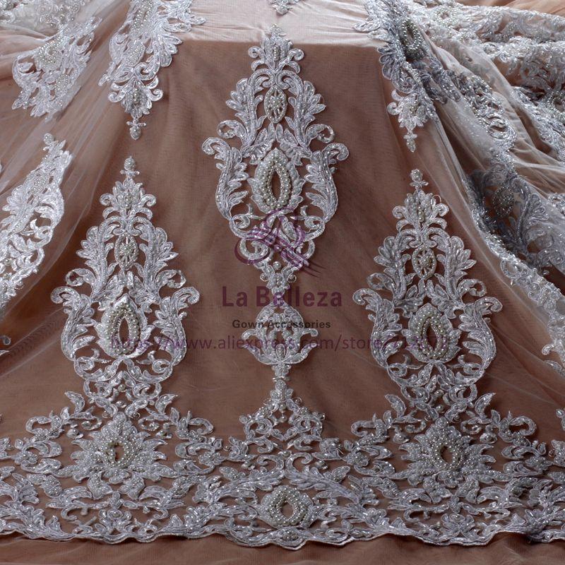 La Belleza Nouvelle Mariée de mode off blanc pur blanc super lourd perles perles robe de mariée en dentelle tissu