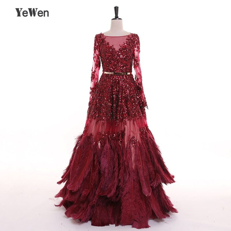 Boden Länge Straußen Federn Burgudy Langen Ärmeln Pailletten Gold Gürtel Abendkleider Prom Formale Kleider 2019 Vestidos De Novia