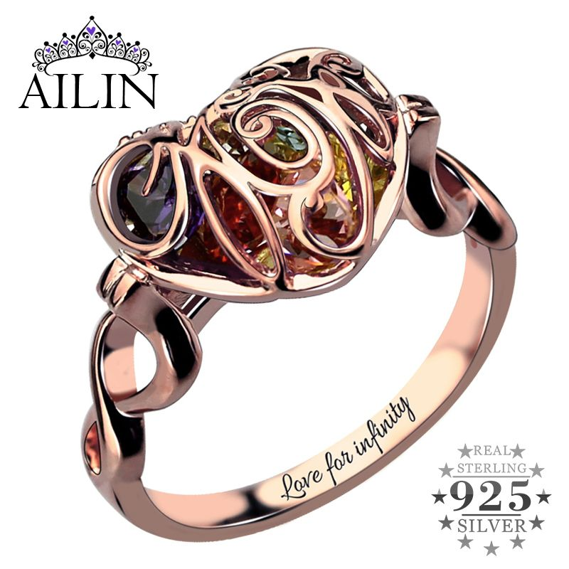Caged Heart Mother's Birthstone Ring Engraved Infinity Name Ring <font><b>Rose</b></font> Gold Color Birthstone Ring Gift for Mother