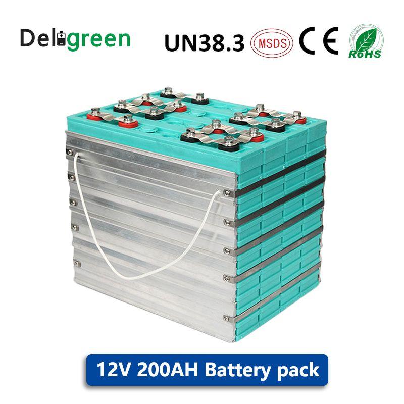 Lange lebensdauer GBIT LIFEPO4 Batterie pack 12V 200AH für elektrische fahrzeuge, energie lagerung solar UPS 4 stücke viel