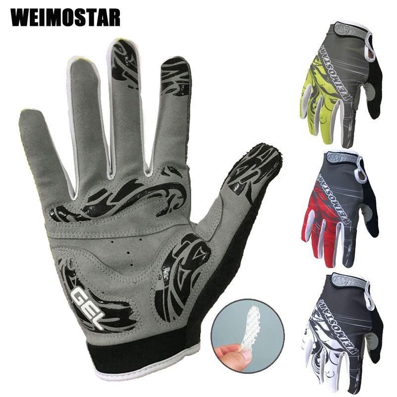 Weimostar long blanc gants de cyclisme antichoc Gel rembourré vélo gant hommes vélo complet doigt gants femmes vtt course gants rouge