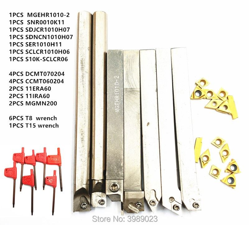 7 stücke 10mm Schaft Drehmaschine Drehen Werkzeug Halter Langweilig Bar mit Hartmetall Einsätze MGEHR1010/SER1010H11/SCLCR1010H06