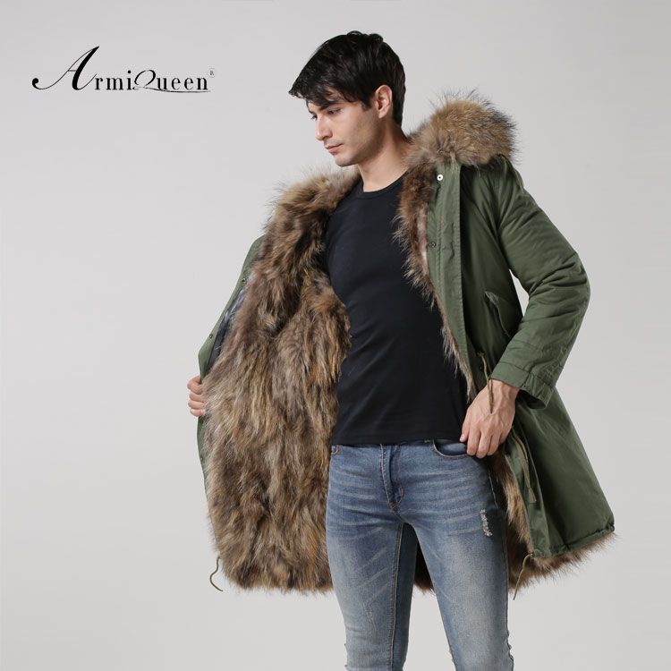 2016 Real Fox fur Male thick warm winter Windproof coat Green Shell coat raccoon dog fur collar coat