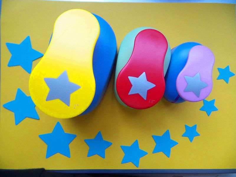 3 unids (5.0 cm, 3.8 cm, 2.5 cm) Estrella de la Suerte de Artesanía Forma Sacador del Punzones Craft Cortador De Papel de Scrapbooking perforadora furador de papel