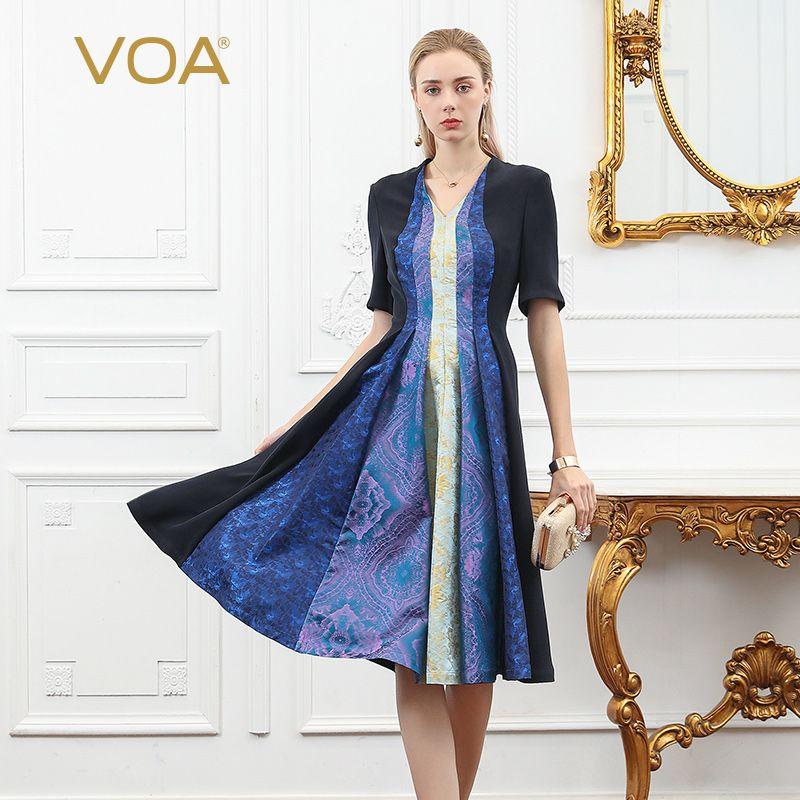 VOA Schwerer Seide Midi Kleid Frauen Gefaltete Kleider Vintage V Ansatz Halbe Hülse Tunika Herbst Retro Elegante Große Größe vestido a971