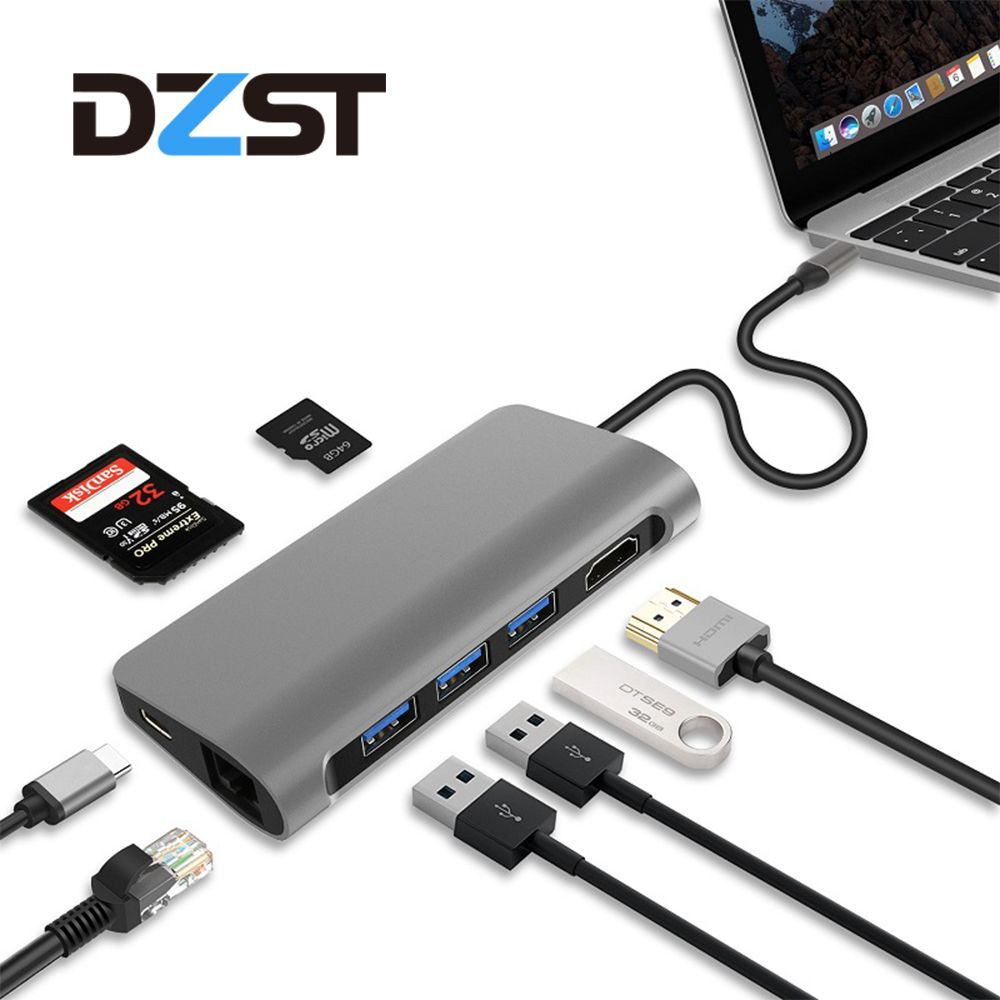 DZLST USB C Hub to Ethernet LAN HDMI PD Charging SD/TF Card Reader 4K USB 3.0 HUB Splitter For Macbook Huawei P20 Samsung S9/S8+