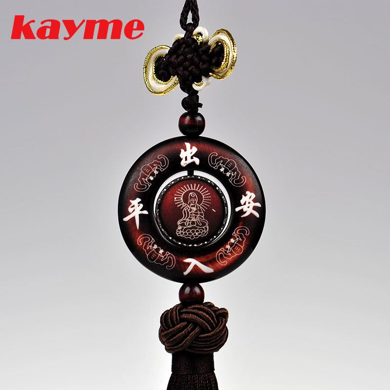 Kayme sandal wood car interior hanging ornament amulet for safe auto pendant car charms for rear view mirror decoration