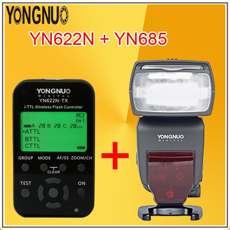 YONGNUO YN685 Wireless High Speed Sync TTL Speedlite Flash Build in Receiver + YN622N-TX with LED Transmitter For Nikon Cameras