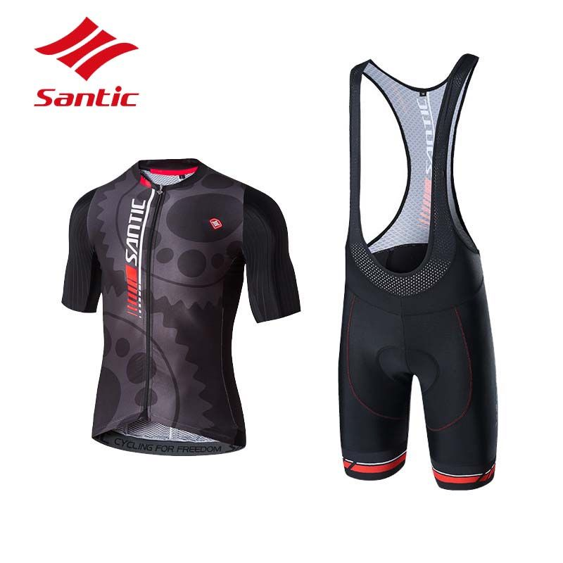 Santic Cycling Set Cycling Clothing Men Summer Pro Padded Breathable Triathlon Suit Bike Cycling Jersey Set Maillot Ciclismo