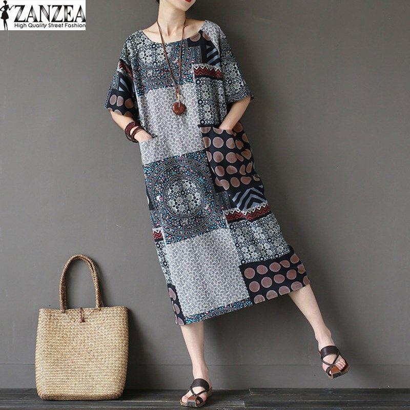 Топы корректирующие blusas 2017 ZANZEA Для женщин летние шорты рукавом Свободные Повседневное Цветочный принт до середины икры карманы сращивания ...