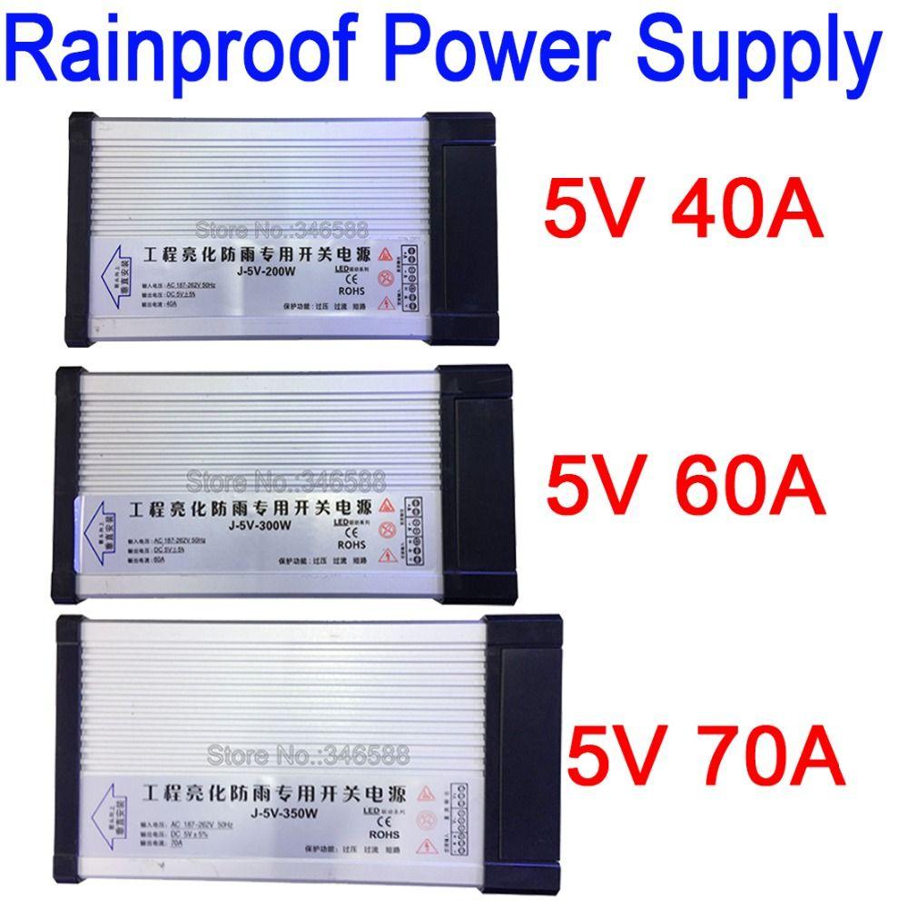 Interrupteur d'alimentation extérieur étanche à la pluie AC 187-262 V 220 V à DC5V 40A 200 W 60 W 300 W 70 W 350 W AC à DC 5 V alimentation en alimentation LED à tension constante