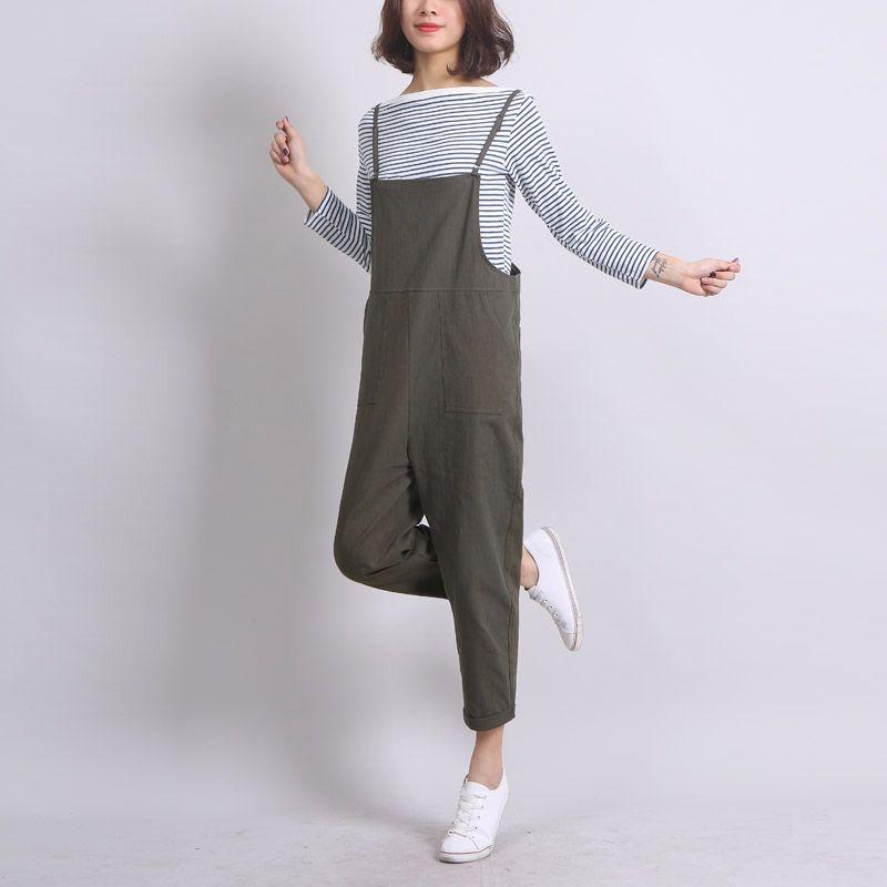 Cheville-Longueur Femmes Lâche Jarretelles Pantalon Solide Couleur Casual Taille Haute Salopette Automne D'été Combinaisons Femme Long Pantalon