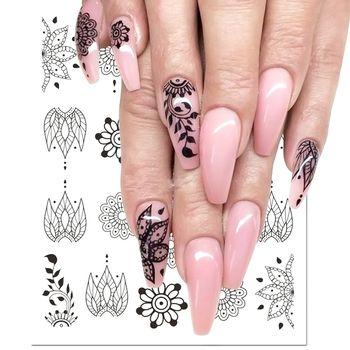 1pcs Black Flower Nail Sticker Water Decals Hollow Tattoo Flora Wings Stencils for Nail Art Decoration Sliders Manicure BESTZ647