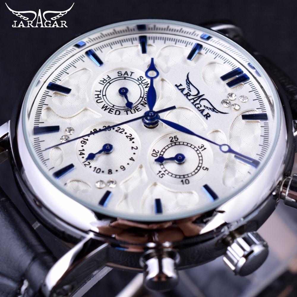 JARAGAR Blau Sky Jaraz Design Serie Aus Echtem Leder Armband Top Marke Luxus männer Automatische Uhr
