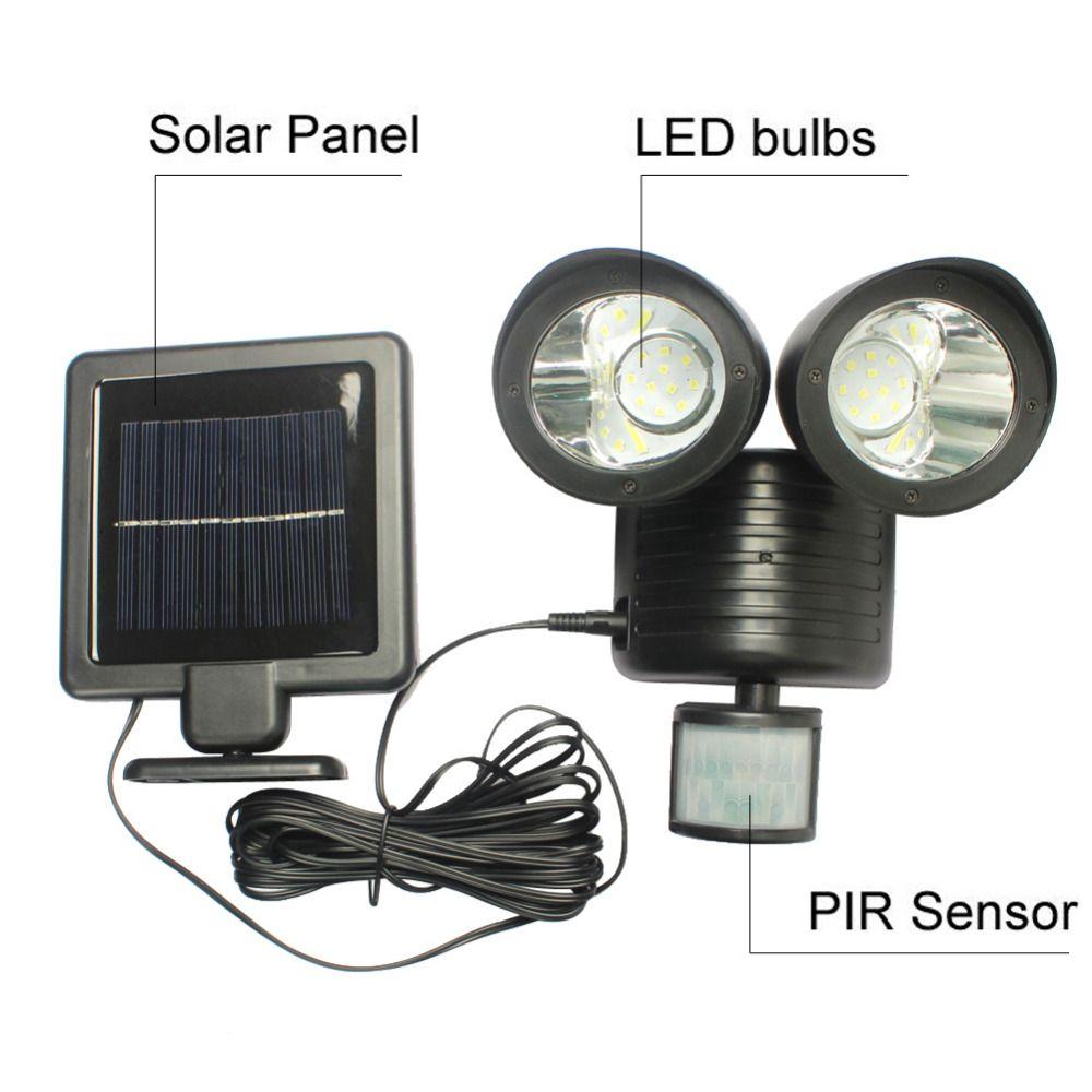 22 LED Solar Powered Light PIR Motion Sensor Security Light Waterproof Outdoor Garden Lamp Landscape Yard Street Wall Light