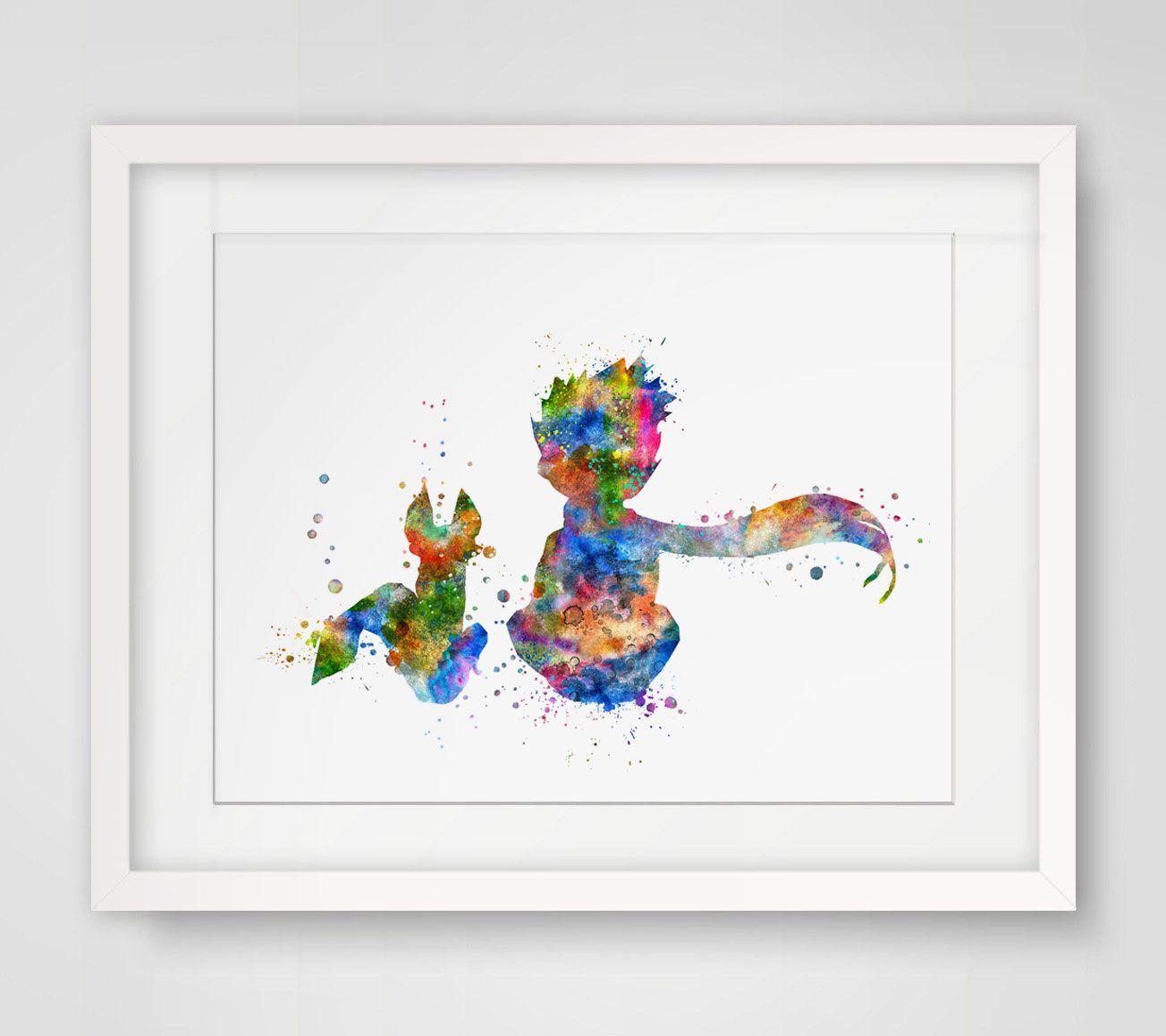 Le Petit Prince renard inspiré conception aquarelle pépinière impression d'art Le Petit Prince décoration murale Art ami tenture murale AP081