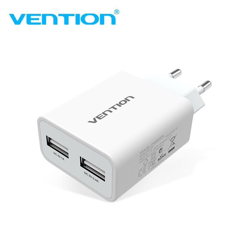 Vention Mobile Phone Charger 5V 1A 2.4A Dual USB Charger Portable Travel Wall Charger Adapter EU Plug For samsung s8 Xiaomi