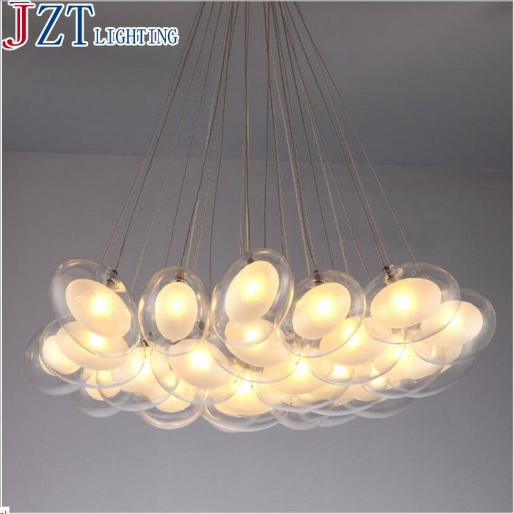 Z Modern Creative Glass Ball Pendant Lamp Artistic Goose Egg Shape Design G4 LED Lights Section Remote Control Sitting Room Lamp