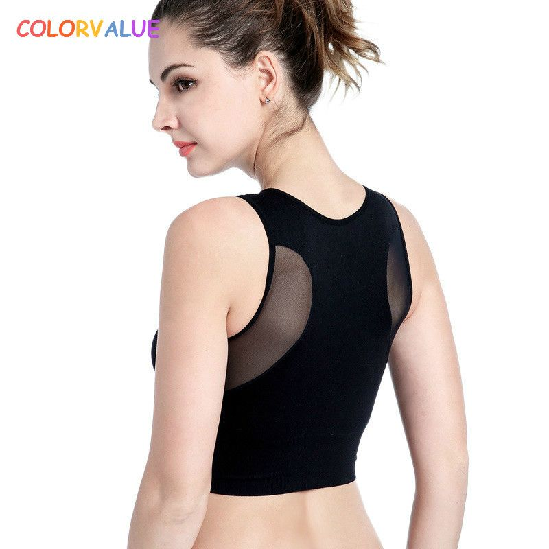 Colorvalue 6Colors Patchwork Mesh Sport Bra Top Women Comfortable Wireless Running Fitness Bras Vest Type Solid Padded Yoga Bras