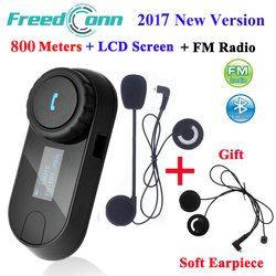 FreedConn New Version TCOM-SC Bluetooth Motorcycle Interphone Headset Helmet Intercom LCD Screen with FM Radio + Soft Earpiece