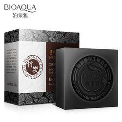 BIOAQUA bambú natural carbón aceites esenciales jabón hecho a mano blanqueamiento de la piel eliminar el acné limpieza Anti envejecimiento hombres/mujeres cuidado