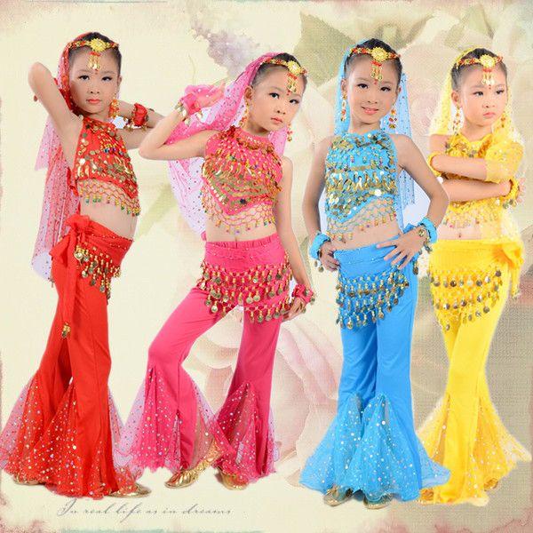 Oriental costumes de danse indienne robe pour enfants filles enfants robes inde vêtements de danse du ventre à vendre bellydance enfant indien