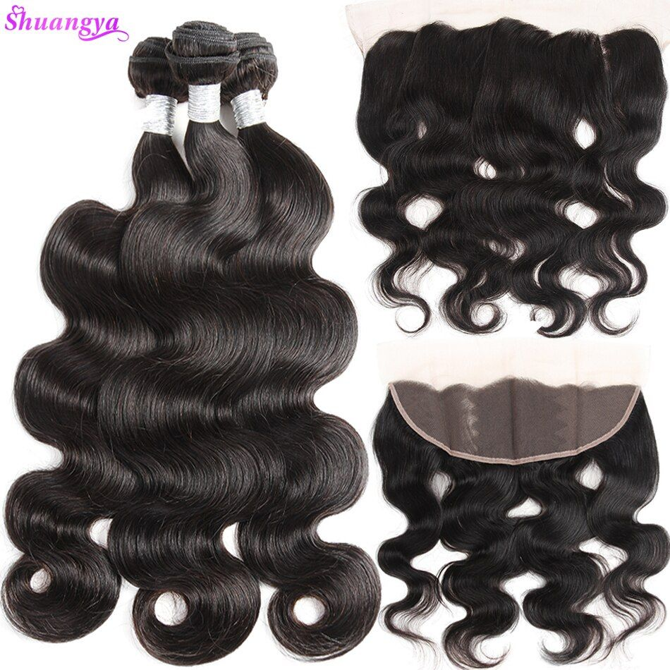 Shuangya Hair 13x4 Ear To Ear Lace Frontal Closure With Bundles Brazilian Body Wave Human Hair Bundles With Closure Non Remy