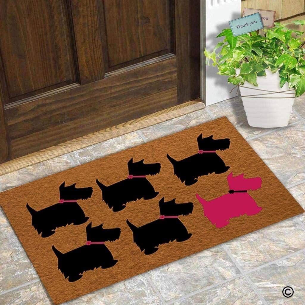 Doormat Entrance Floor Mat Funny Door Mat Scotty Dog Designed Non-slip Doormat 23.6 by 15.7 Inch Non-woven Fabric
