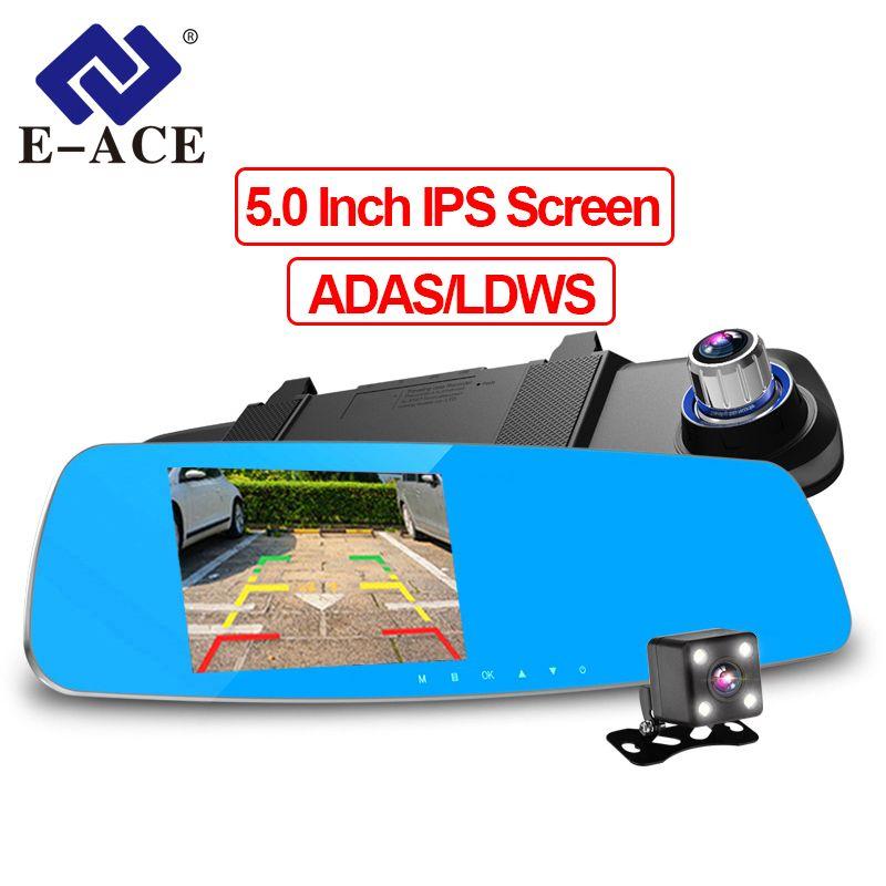 E-ACE Car DVR Camara 5 Inch Dual Lens Recorder FHD 1080P Auto Registrator Rearview Mirror With ADAS LDWS Night Vision Dash Cam