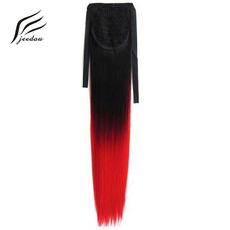 Jeedou cheveux raides arc-en-ciel Ombre couleur 22 pouces 55cm 90g ruban queue de cheval Extensions de cheveux synthétique noir rose naturel queues de cheval