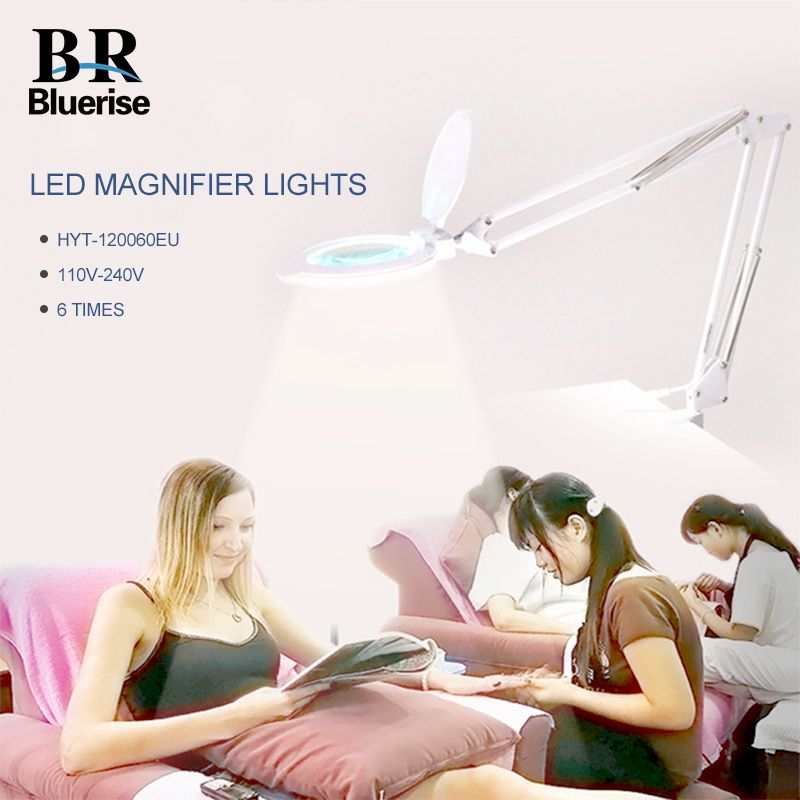 Nail Lamp LED Light 6 Times Magnifying Glass Manicure Tatoo Dental Hospital Beauty Salon 8W EU Plug Desktop Folding Table Lamp