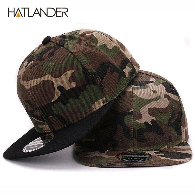 Casquette de baseball Camouflage en polyester HATLANDER casquette de baseball Camouflage plate sans broderie casquette et chapeau pour hommes et femmes