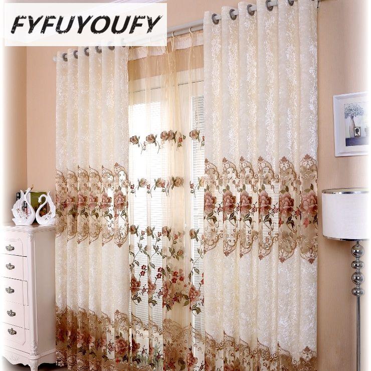 FYFUYOUFY rideaux de broderie de haute qualité pour salon chambre douce charpie la rose relief rideaux occultants rideaux en tulle