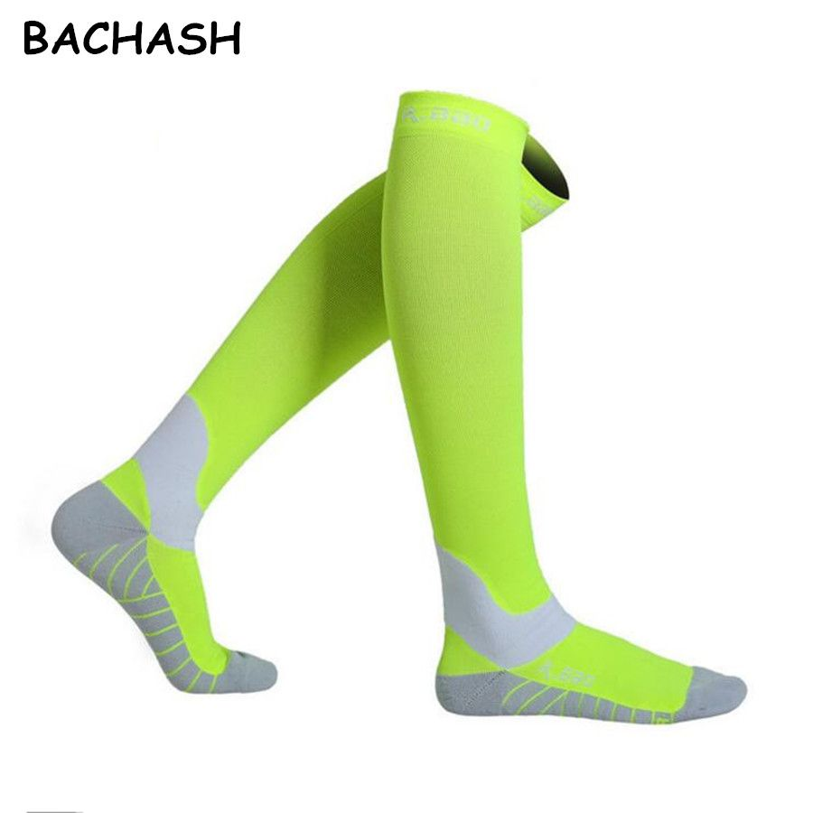 BACHASH 30-40 mmHg Compression Stock For Outside Solid Fashion Men Women Black Riding Color Long Socks Size 34-44 Christmas Gift