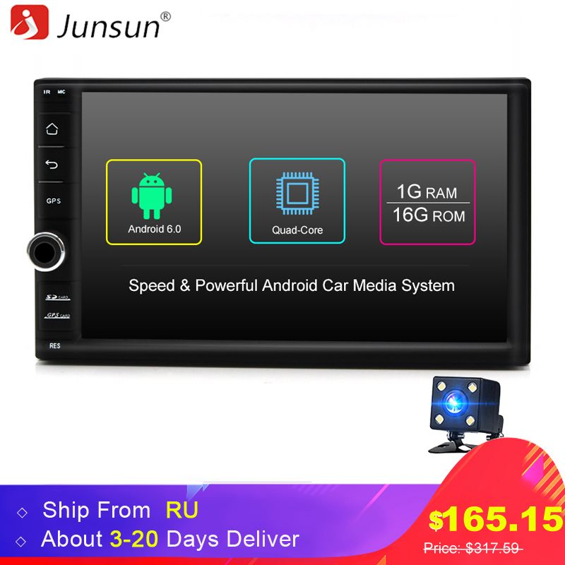 Junsun Quad Core 7 2 Din Android 6.0 Car DVD Radio Multimedia Player <font><b>1024</b></font>*600 Universal GPS Navigation autoradio Stereo Audio