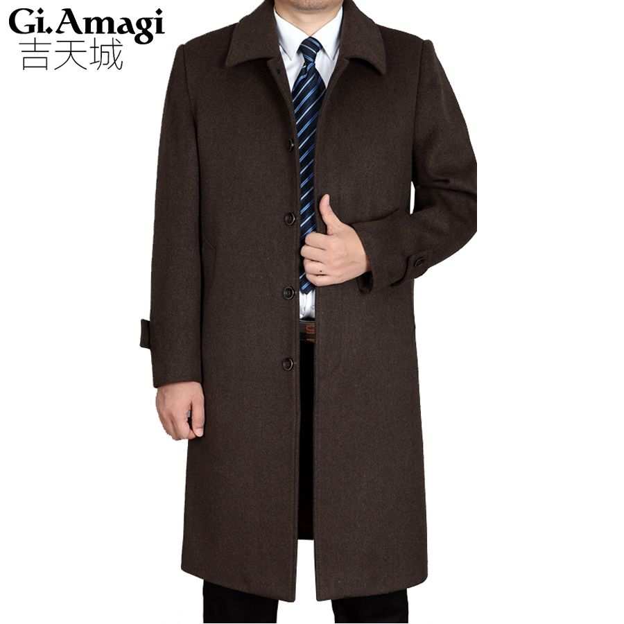 Men's Wool Coats Jackets Autumn Winter Cashmere Coat Men Thick Lapel Mid - Aged Men 's Cashmere Long Coat