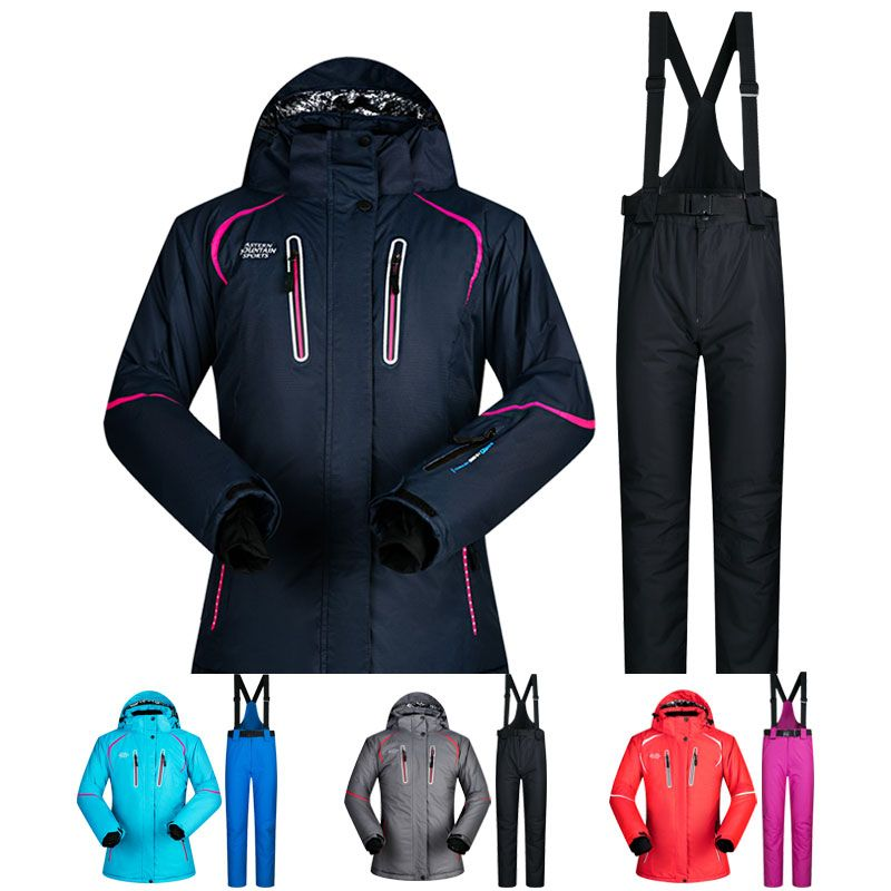 Ski Anzug Frauen Winter Schnee Kleidung Set Dicke Wasserdichte Ski Jacke und hosen Set-30 Grad Skifahren Und Snowboarden anzüge Marke