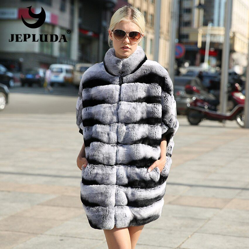 JEPLUDA New Women Loose style Natural Real Fur Vest Stand collar Real Rex Rabbit Vest Without sleeves Real Fur Coat Women Jacket