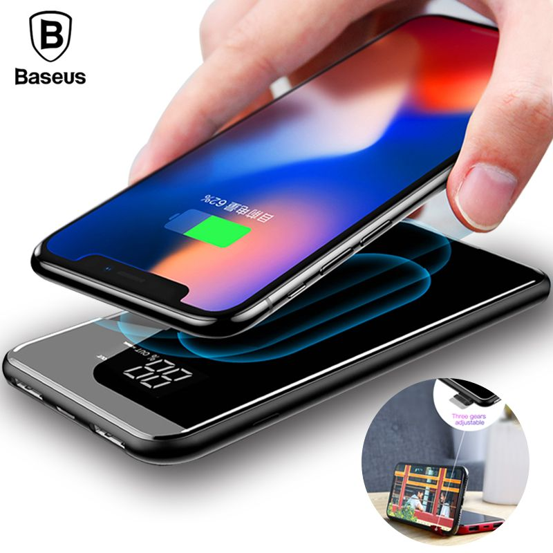 Baseus 8000mAh QI Wireless Charger Power <font><b>Bank</b></font> For iPhone X 8 LCD Dual USB Battery Charger Wireless Powerbank For Samsung S9 S8