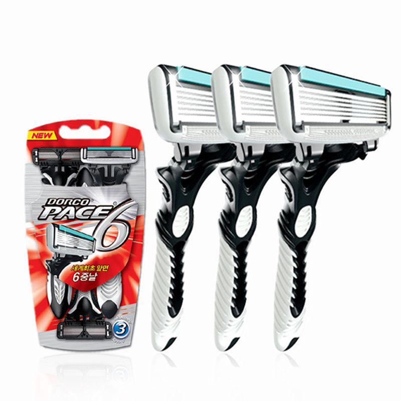 Bonne qualité rasoir Dorco hommes 3 Pcs/lot 6 couches lames rasoir pour hommes rasage lames de rasoir de sécurité en acier inoxydable
