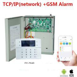 Fokus FC-7640 Industri jaringan TCP/IP sistem alarm 8 zona kabel 32 zona nirkabel GSM logam alarm kabel kotak