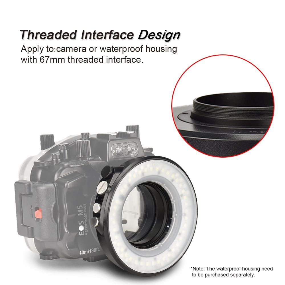 SL-108 67mm Underwater Diving LED Ring Light For Olympus TG-5 TG5 TG-4 Sony A7 II A7R II Waterproof Housing Case