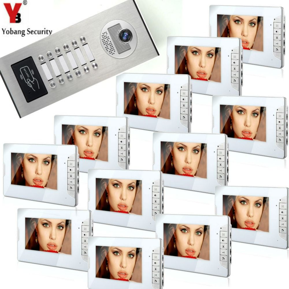 YobangSecurity House Doorbell 7 Inch HD Video Door Phone Doorbell Intercom System RFID Access Control 1 Camera 12 Monitor.
