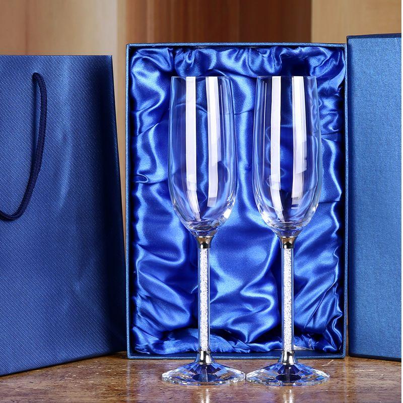 1 ensemble personnalisé mariage Champagne flûtes cristal Champagne verres ensemble de fête de mariage gobelets cristal mariage vin lunettes