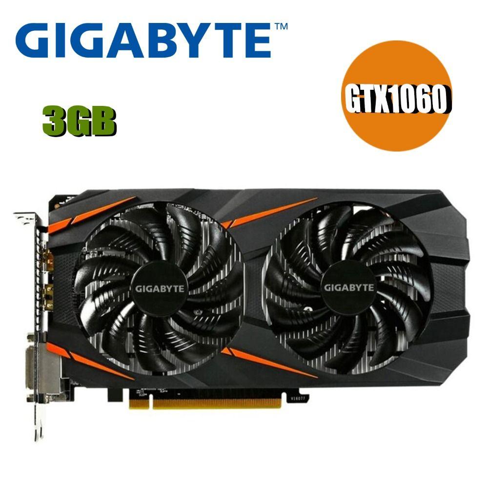 Verwendet GIGABYTE Video Karte GTX 1060 3 GB Grafiken Karten Karte Für nVIDIA Geforce GTX1060 OC GDDR5 192Bit Hdmi Grafik karten 1050ti