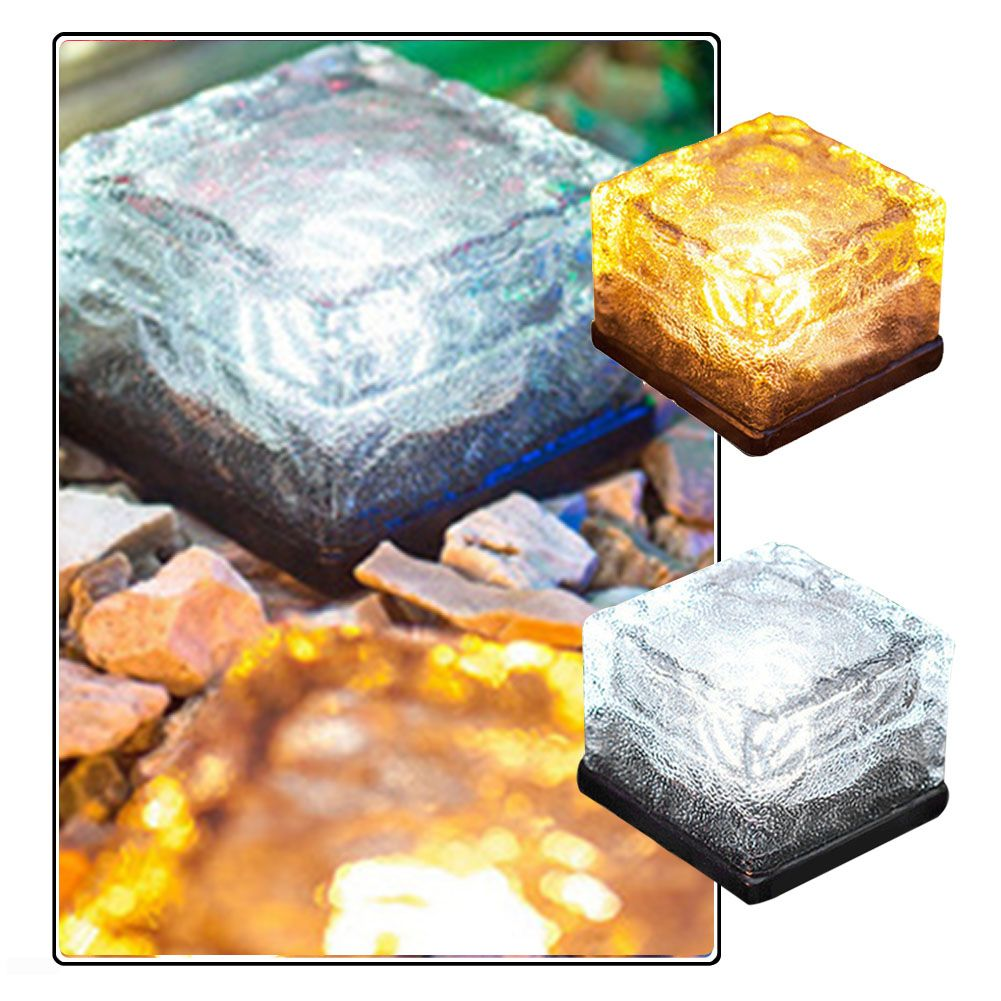 Solar Power LED <font><b>Light</b></font> Outdoor Waterproof Ground Clear Glass Ice Rock Brick Yard Deck Road Path Garden Decoration Security Lamp