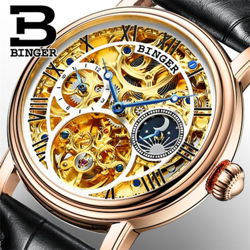 Switzerland BINGER Mens Watches Top Brand Luxury Skeleton Tourbillon Relogio Masculino water resistant Mechanical Wristwatches