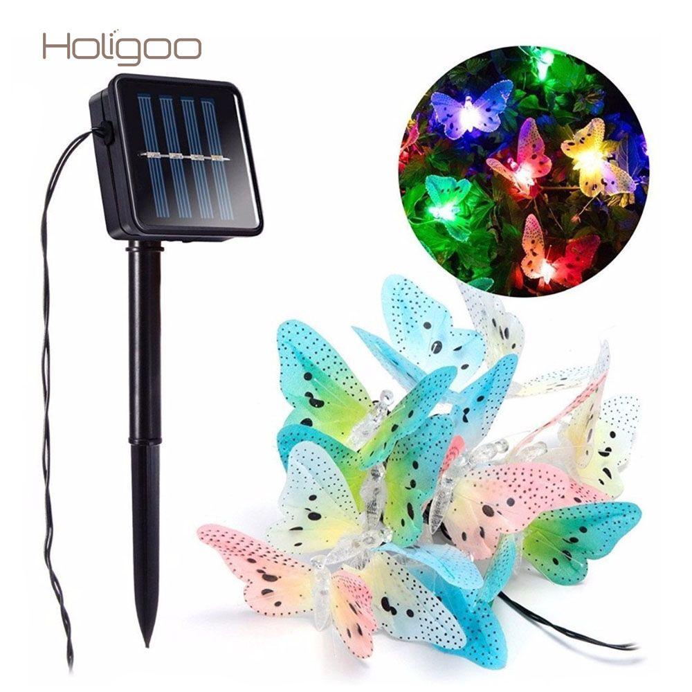 Holigoo Fibra Óptica Mariposa Solar Luces de la Secuencia de Iluminación para el Hogar Jardín de Césped Patio Al Aire Libre Del Partido de Navidad Decoración de Vacaciones